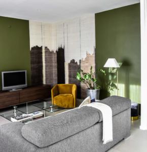 Salon, choix des coloris, et parti pris d'un papier peint de créateur, Sandrine Gauquier architecte d'intérieur - Projet Maison de ville